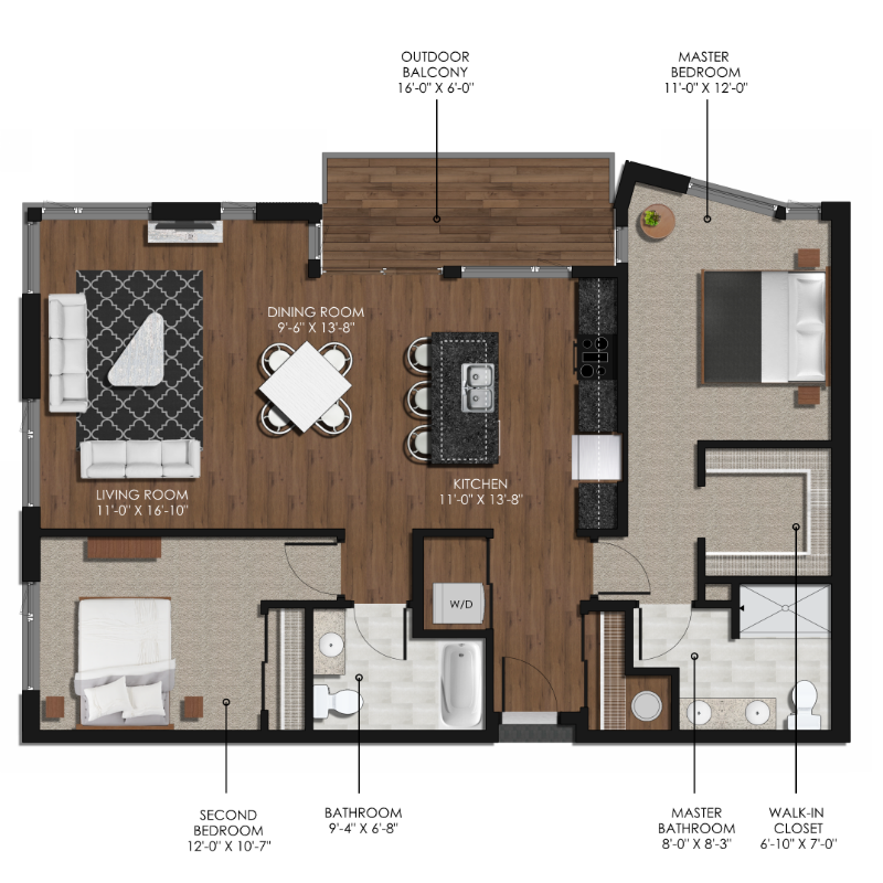 2 Bedroom 2 Bathroom Style D | Forge and Flare Apartments