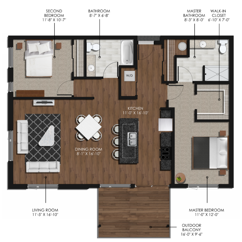 2 Bedroom 2 Bathroom Style E Forge And Flare Apartments