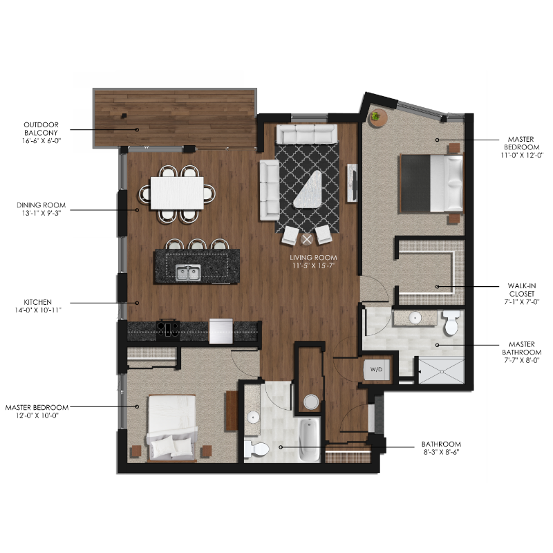 2 Bedroom 2 Bathroom Style G Forge And Flare Apartments