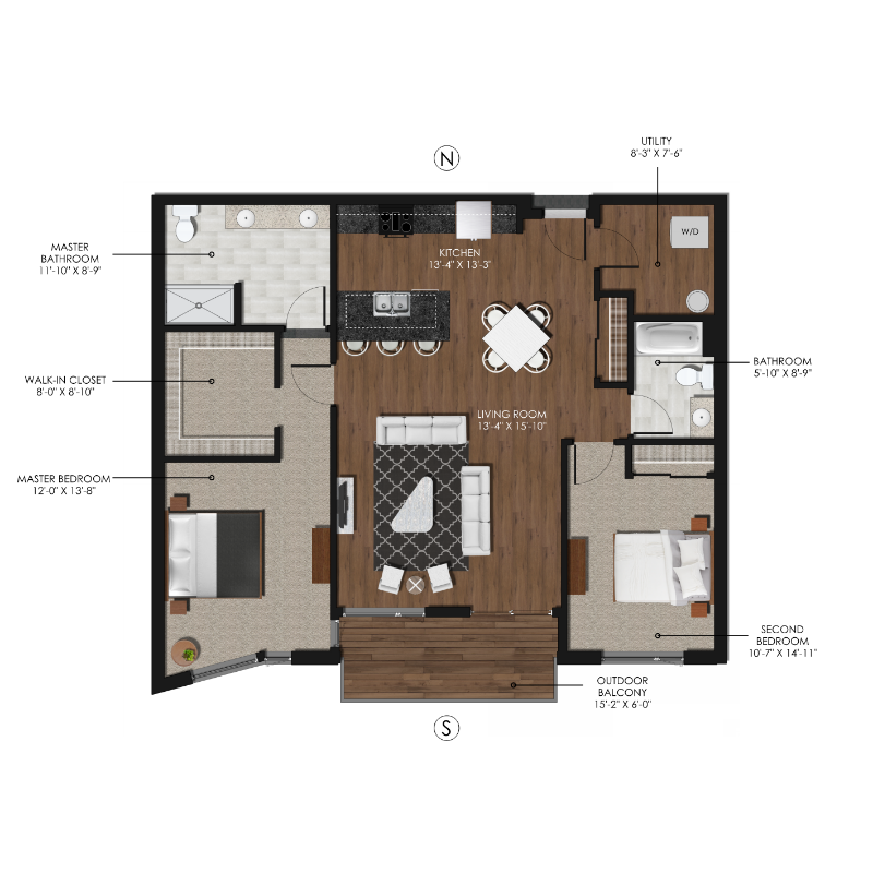 2 Bedroom 2 Bathroom Style H Forge And Flare Apartments