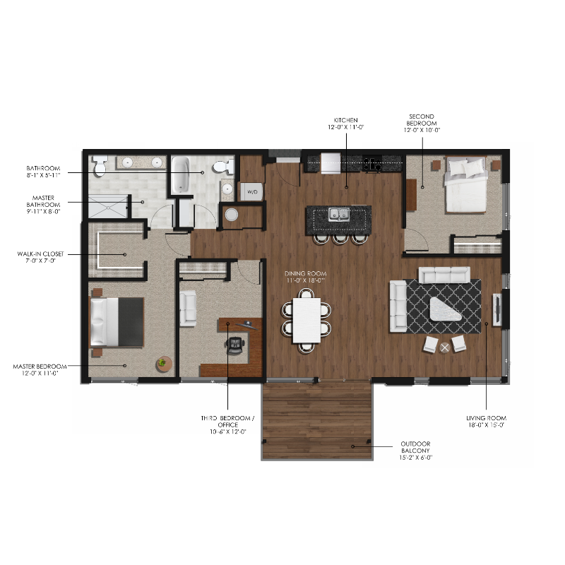 3 Bedroom 2 Bathroom Style J Forge And Flare Apartments
