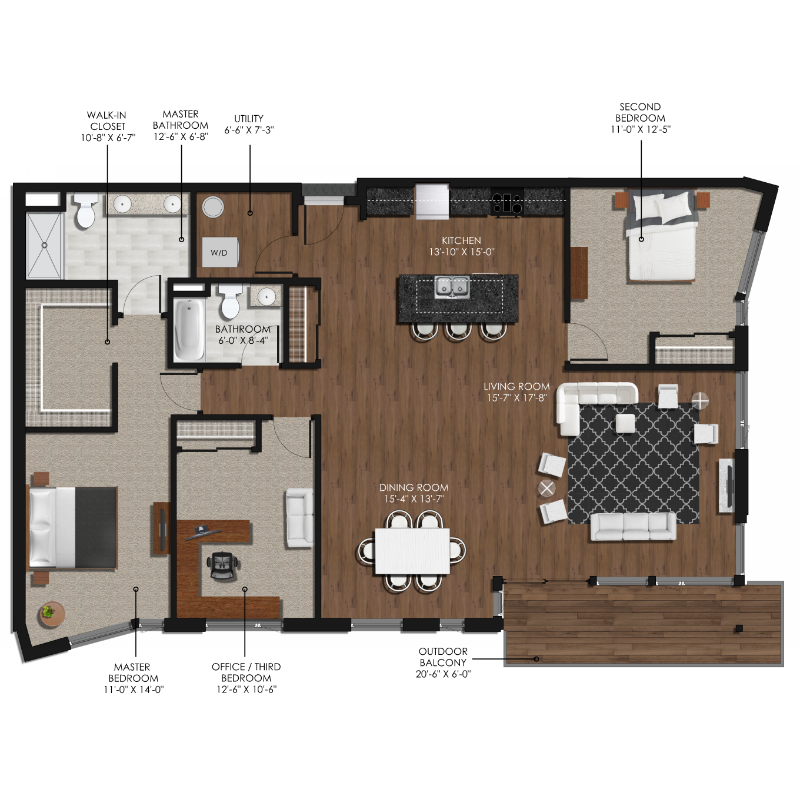 3 Bedroom 2 Bathroom Style L Forge And Flare Apartments